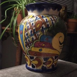 Made Mexico Mexican hand painted pottery vase